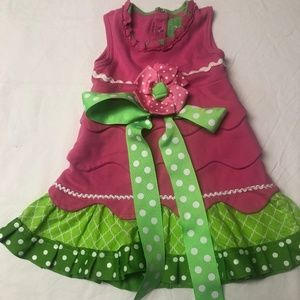 Mud Pie pink dress with green polka-dots